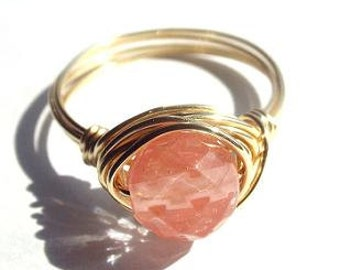 Cherry Quartz Ring, Pink Stone Ring, Cute Ring, Wire Wrap Ring, Cherry Ring, Pink Quartz Ring, Made to Order, Gifts Under 15, Gift for Mom