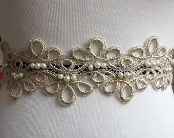 """3"""" Gold Lace Trim, Venice Laces Sash Trim, Lace Cuff, Bracelet lace Trim, Lace Applique with Pearls  [TLA-310-GP]"""