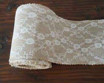 Burlap and Lace Ribbon--Burlap and Lace Roll--Rustic Wedding Decor Supplies--Shabby Chic Wedding Decor Supplies--Burlap and Lace trim