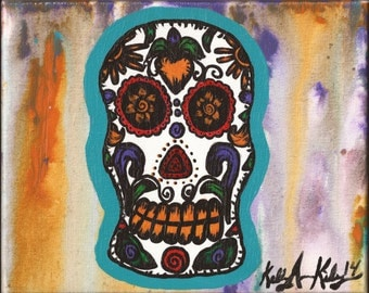 White Day of the Dead Skull Painting