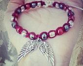 Angel Wings Burgundy Bamboo Hemp Macrame Bracelet with Glass Beads