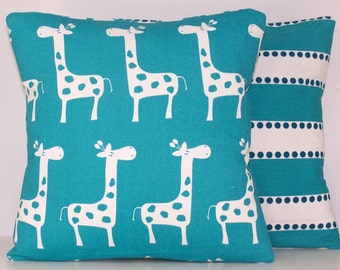 PILLOW COVER.Turquoise Pillow.Baby.Nursery.Toss Pillow.True Turquoise Pillow.Cushions.Giraffe.Aqua.Turquoise