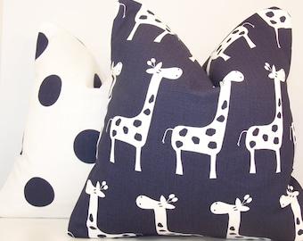 Blue Pillow, PAIR PILLOW COVER, Navy Blue Pillow,14 x 14,16 x 16, 18 x 18,Euro, Sham, Lumbar,Blue Polka Dot,Blue Giraffe,Baby,Nursery,Child