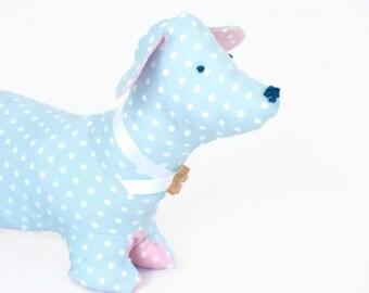 Dog soft toy - plush dog - sausage dog toy - blue nursery decor - baby blue polka dot - dachshund plush - cottage chic