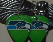 Seattle Seahawks Guitar Pick Earrings-Green
