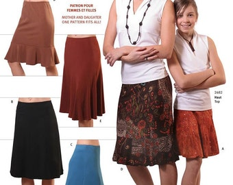 Jalie 8-Gored Skirts Sewing Pattern # 2681 in 5 Styles, 27 Sizes Women & Girls, Great for Mother  and Daughter
