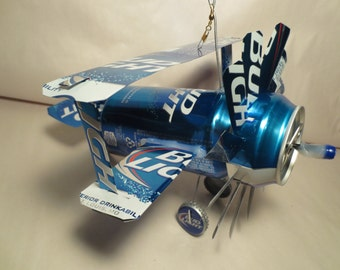 Airplane Whirl-A-Gig Made From New Bud Light Beer Cans