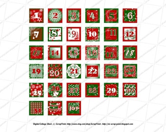 Printable DECEMBER DAILY NUMBERS (1, 1.5, 2 & 3 inch squares) Advent Calendar. Instant Download Digital Collage Sheet Christmas Project Life