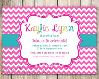 Chevron Pink Birthday Invitation, 1st Birthday Invitation, 2nd Birthday Invitation, 3rd Birthday Invitation, 4th, 5th, 6th, 7th, PRINTABLE