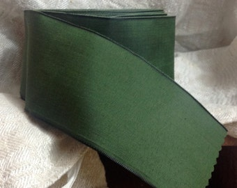 forest green taffeta french wired ribbon