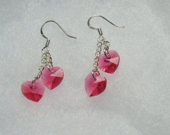 Swarovski Crystal Hearts in pairs Dangle Earrings