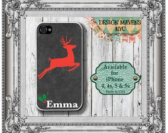Red Reindeer iPhone Case, Holiday iPhone Case, Monogramed Phone Case, iPhone 7, 7 Plus, iPhone 6, 6s, 6 Plus, iPhone 5, 5s, 5c, 4, 4s