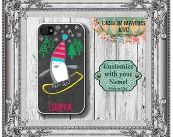 Penguin iPhone Case, Personalized iPhone Case, Holiday iPhone Case, iPhone 4, 4s, iPhone 5, 5s, 5c, iPhone 6, 6 Plus, Phone Case
