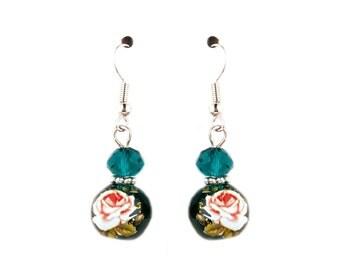 Teal Floral Glass Earrings/ Murano Glass Venetian Lampwork Earrings/ Floral Flower Rose Spring Summer Earrings/ Beaded Glass Earrings/ Chic