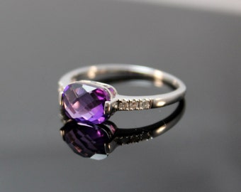 CLOSEOUT SALE! Amethyst Ring with Diamonds Set in White or Yellow Gold. Horizontal, purple, cushion, checkerboard, unique, engagement