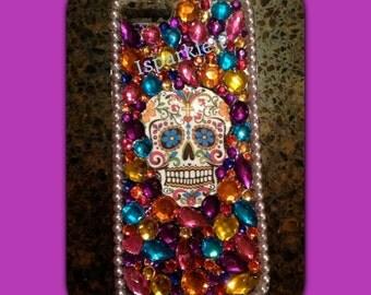 Custom Sugar Skull Rhinestone Sparkle Bling Cell Phone Case