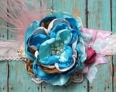Flower Headband, Handmade Hair Accessory, Baby Girl Headband, Headband matching summer dresses, Girls Photo Prop, Birthday Girl,