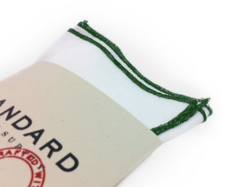 White Pocket Square serged with Green trim.