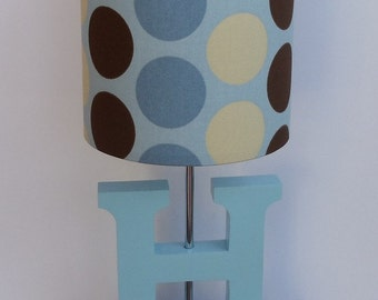 Handmade Small Drum Lamp Shade - Light Blue, Cream and Brown Dots design