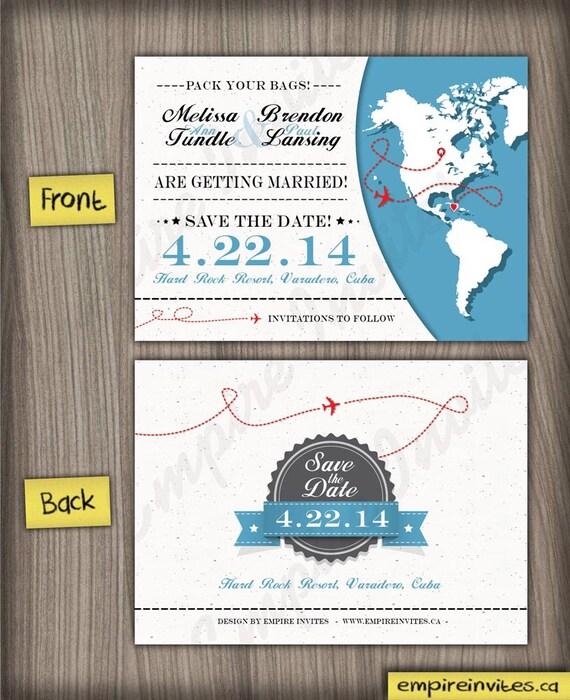 World Map Save The Date Wedding Invitation Custom Destination