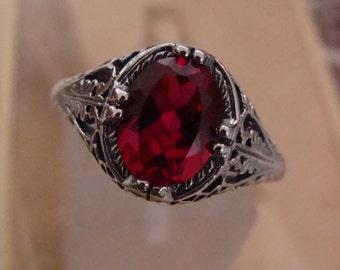 Lovely Sterling Filigree Ruby Ring Size 6.5