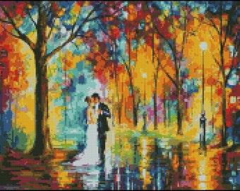 Rainy Wedding - Counted Needle Point and Cross Stitch Chart Patterns