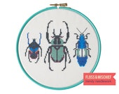 Modern cross-stitch DIY kit - Aqua Beetle Trio - colourful insect trend, ideal for beginners
