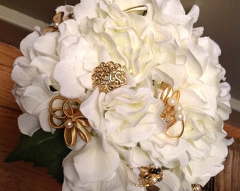 Pearl & Gold Brooch Bouquet with White Hydrangeas