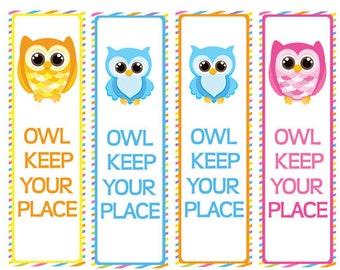 Printable Owl Bookmarks Party Favors