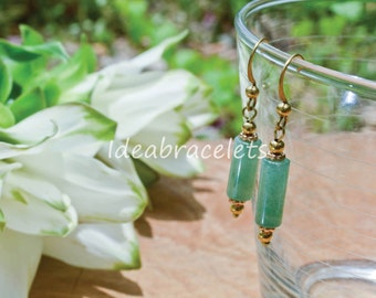 Jade Drop Earrings Gemstone Jewelry Gift For Her Brass Simple Earrings