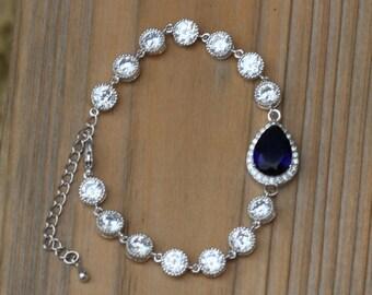 blue bridal bracelet sapphire blue bracelet wedding bracelet bridal jewelry