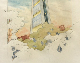 PRINT- Commerzbank tower Foster Frankfurt architectural drawing architecture skycraper  - art original Watercolor painting by Juan bosco