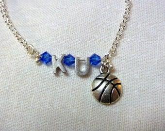 KU charm bracelet - 7 inch Ladies Bracelet - Basketball charm - gift for her - Sports jewlery