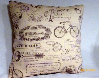 Decorative Pillow Cover -French Pillow - Paris pillow - Vintage French advertising - Eiffel Tower -16x16 - French Country decor