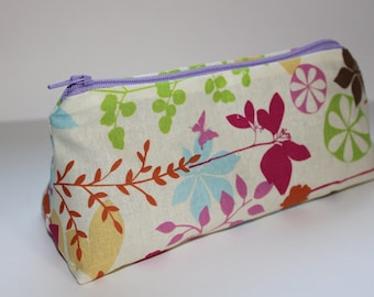 Pink, Green & Blue Floral on Tan Zippered Pouch - Purple Zipper and Lining