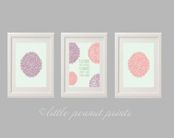 """Set of 3 8x10 or 11x14 Nursery Art Prints """"Sisters are Different Flowers from the Same Garden"""" 