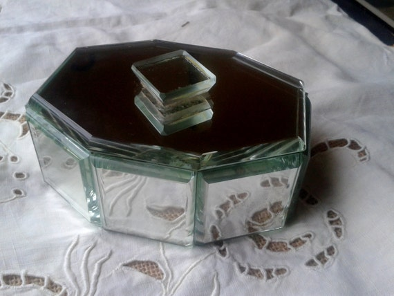 Antique French Art Deco Geometrical Mirror Box 1930's - Mirror Cuts - Casket Jewelry Box - Octagonal Shape - F aux leather Paper Box Inside