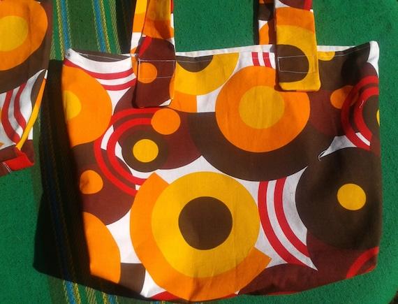 Vintage 60's Style Tote Bag Large Orange Circles French Cotton Canvas Handmade #sophieladyeparis