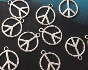 10 Peace Sign Charms Peace Sign Pendants Antiqued Silver Double Sided 14mm