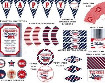 Home One Baseball - Custom Printable Party Pack - Digital Print Files