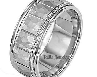18K Mens  White Gold Wedding Band Ring 8MM Wide  Sizes 4-12  Free Engraving  New