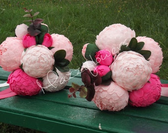 Wedding bouquet,Bridal bouquet,paper flower bouquet,peony pink,peony paper flower,bridesmaids bouquet