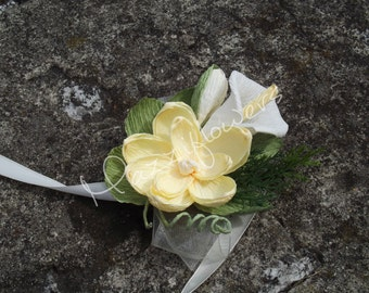 Bridal corsage, wedding corsage,paper flower, corsage for mothers, paper flowers, magnolias and calla, ivory,cream wedding flower.