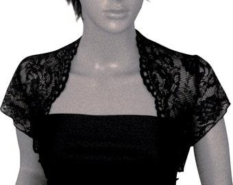 Ladies  Black Short Sleeve Lace  Bolero/Shrug for specail occasions in sizes UK 8,10,12,14,16 & 18