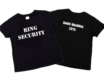 Ring Security Shirt. Adult Size Ring Bearer Ring Security T-Shirt Wedding Name and Date on Back Gift for Wedding Celebration.
