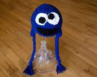 Cookie Monster Baby Hat, Sesame Street, Toboggan, Cookie Monster, Beanie, Crochet, Kids, Toddler, Child, Cookie Monster Costume, Toque