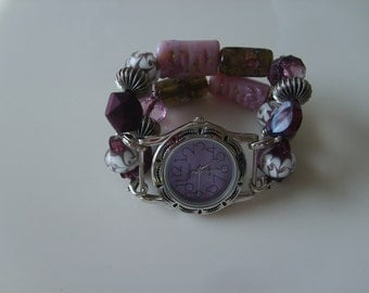 Double Stranded Purple Beaded Watch Band Set (89)