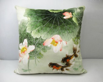 Decorative Velvet Pillow Cushion Cover Water Lily Lotus Fish Double Sides Artwork