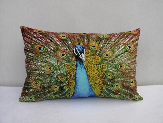 Decorative Pillows Peacock : Vivid Peacock Pillow Cushion Cover Velvet Decorative Pillow