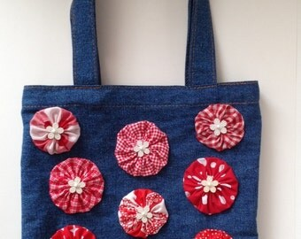 Yo-Yo Flower Embellished Denim Tote Bag - Violet Bows